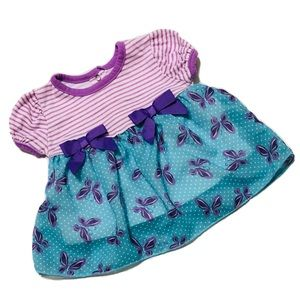 Other - Blue/Purple Short Sleeve Dress Girl 6-9mo